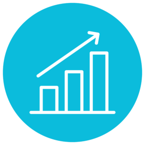 an icon of growth using a bar graph
